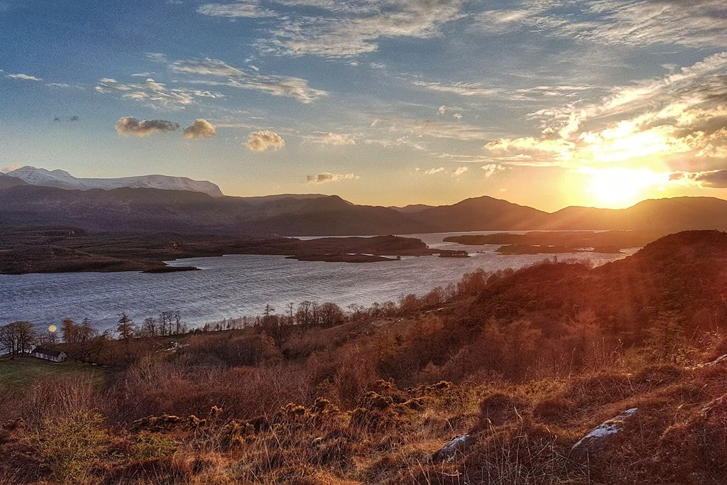 Sunset on Loch Maree and its surroundings in Scotland