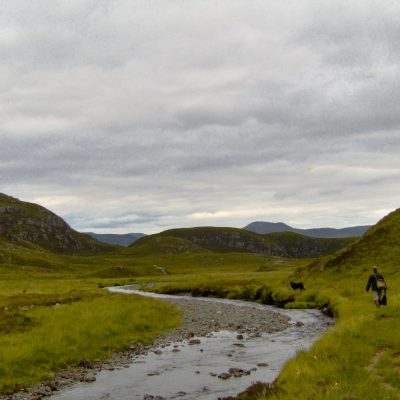 Hiking in Scotland near Loch Garbhaig