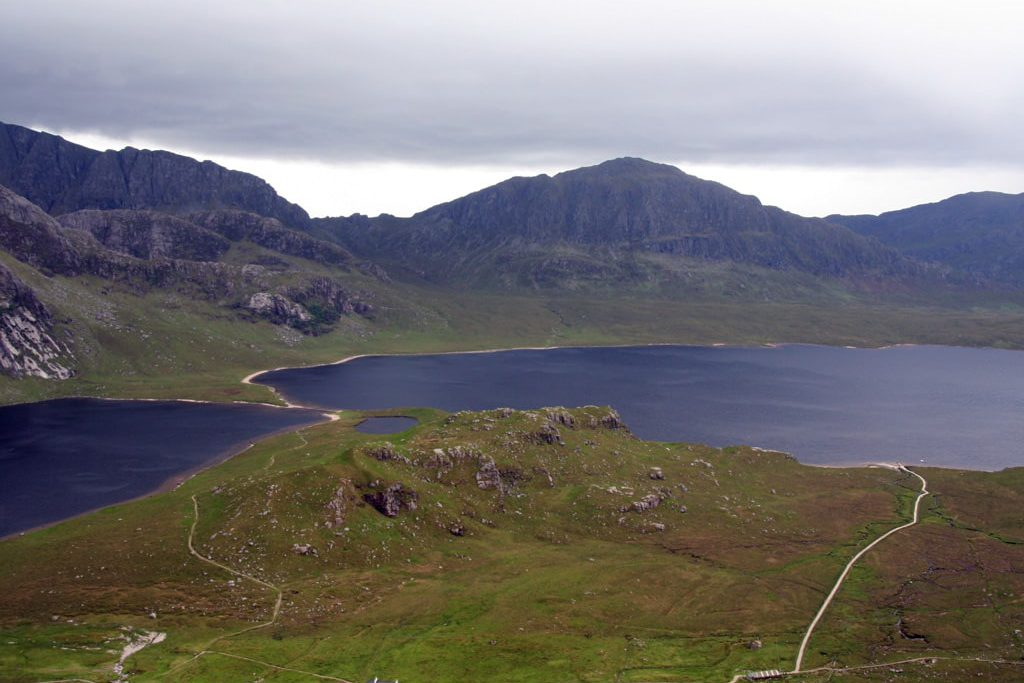Carnmore and loch seen from the hills
