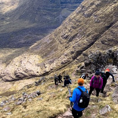 Guided mountain walkings near Loch Garbhaig and Slioch mountain