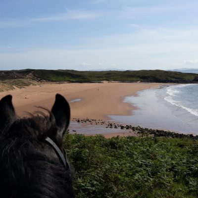 Horse trekking on a beach in Scotland